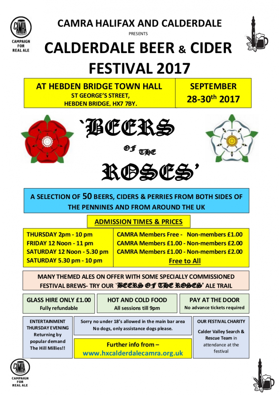 "Calderdale Beer & Cider Festival 2017 - ""Beers of the Roses"""