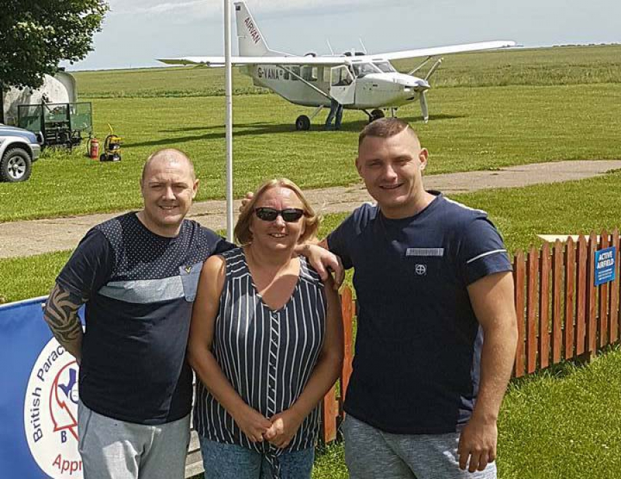 Richard Fenty, Debbie Forrest and Simon Manning before their charity skydive
